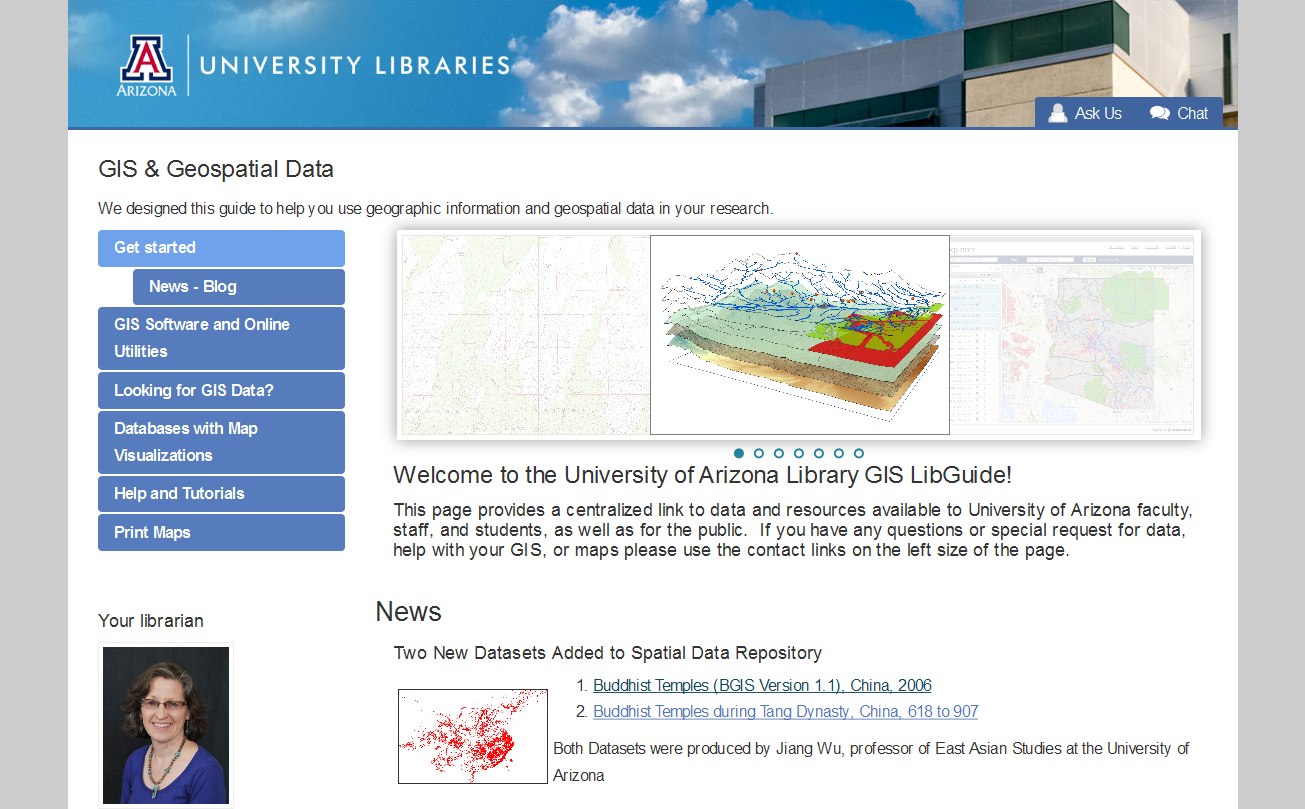 Screenshot of GIS LibGuide Main Page