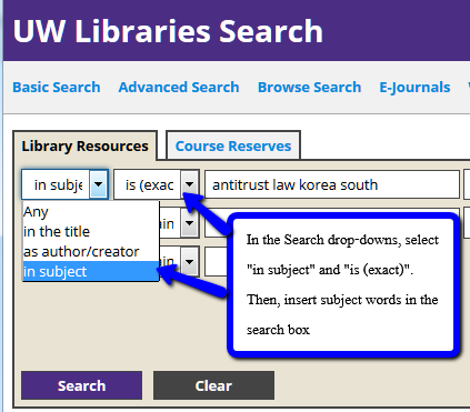 Subject Search in UW Online Catalog
