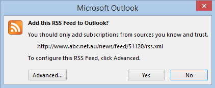 Click Yes to add the feed to Outlook
