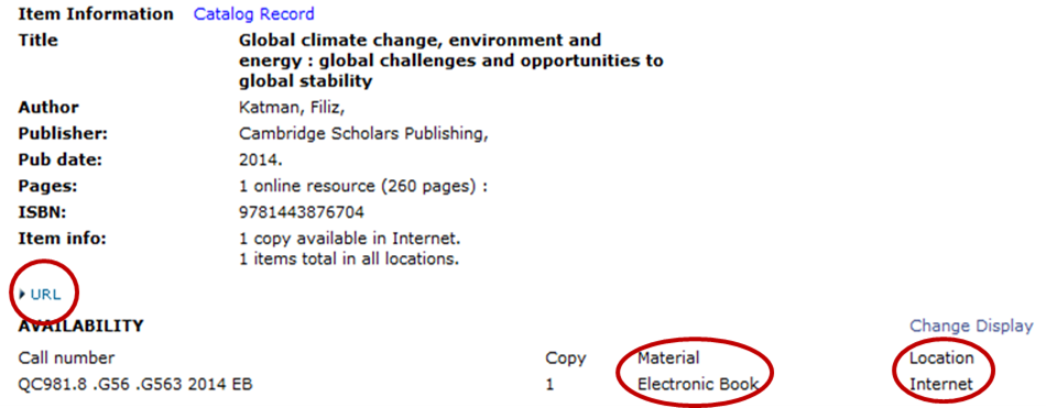 For ebooks in the CSU Catalog look for a URL, material type and location