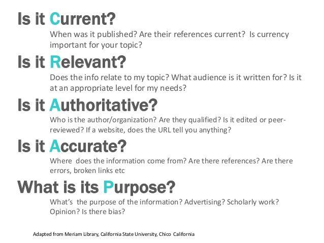 Current, Relevant, Authoritative, Accurate, or Purpose