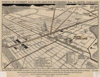 Points of interest and auto routes diverging from the Hotel Oakland.