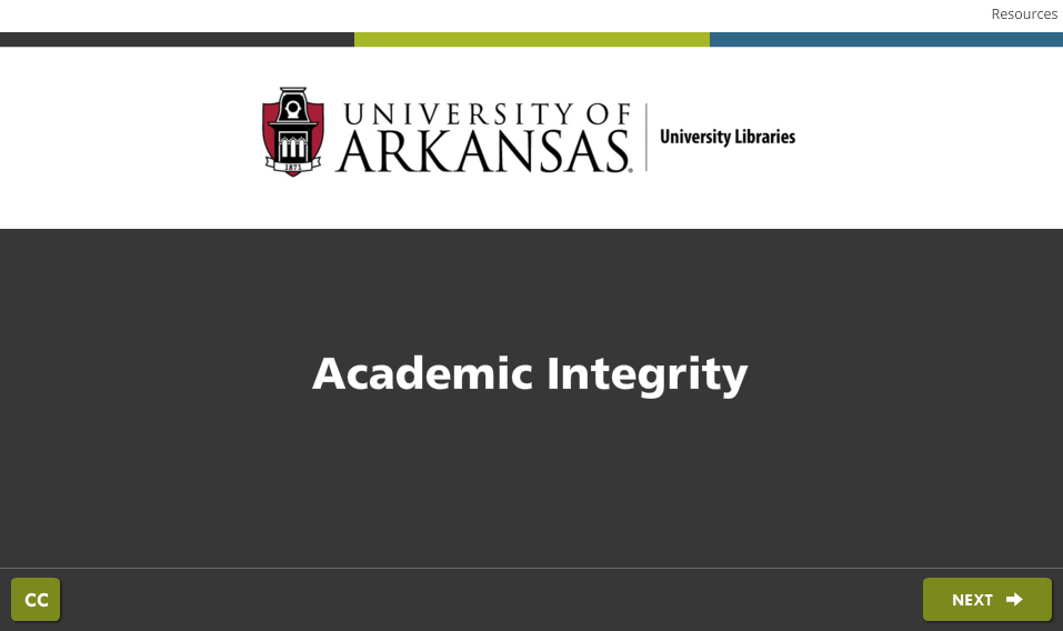 Screenshot of Academic Integrity Module