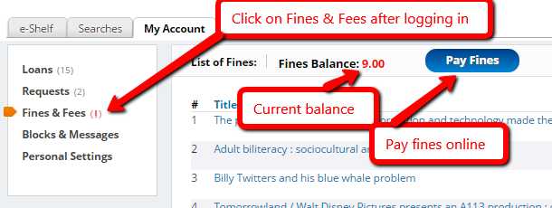 Screenshot of OneSearch fines page