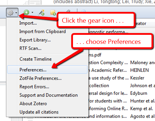 Image showing how to locate preferences under the gear icon.