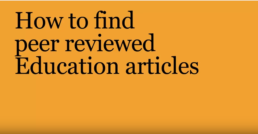 How to find peer-reviewed Education articles video title page