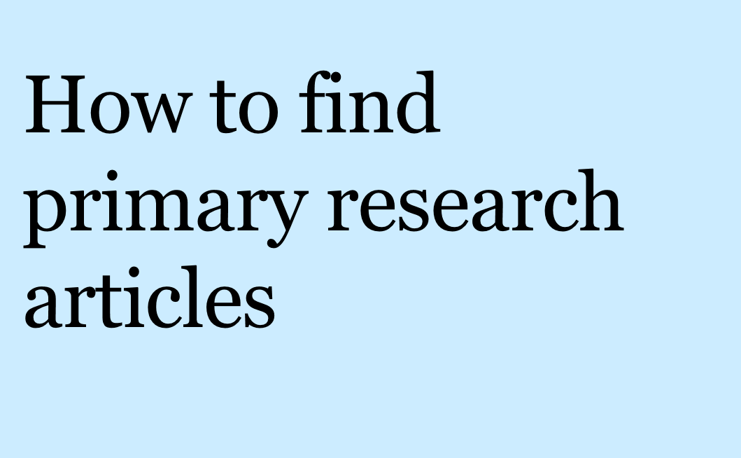 How to find primary research articles video link