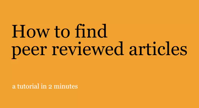 How to find peer-reviewed articles video title page
