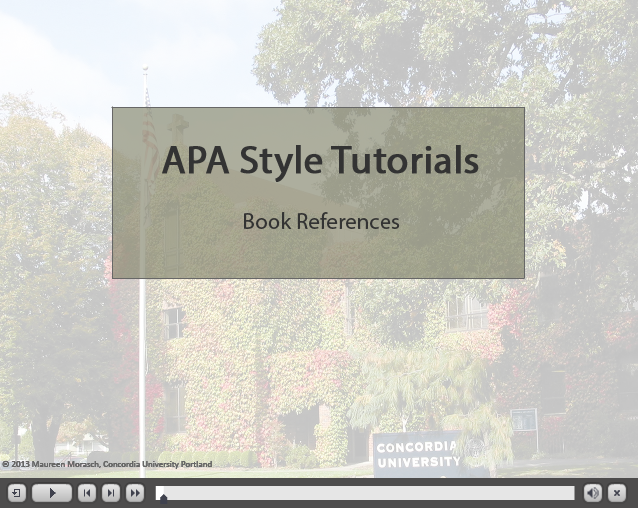APA book references video title page