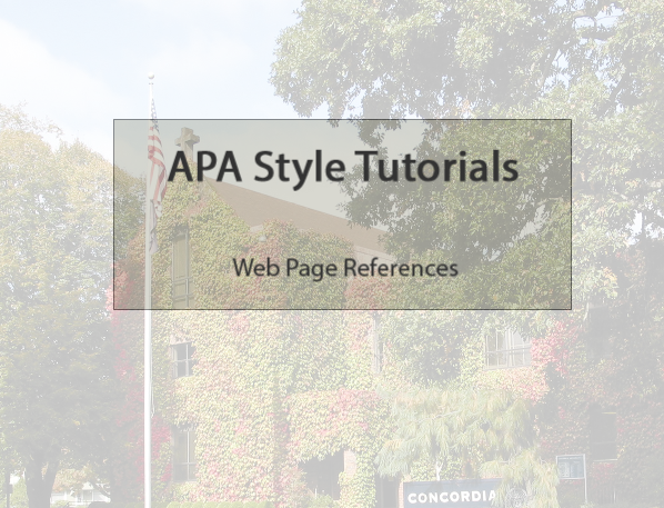 APA for websites video link