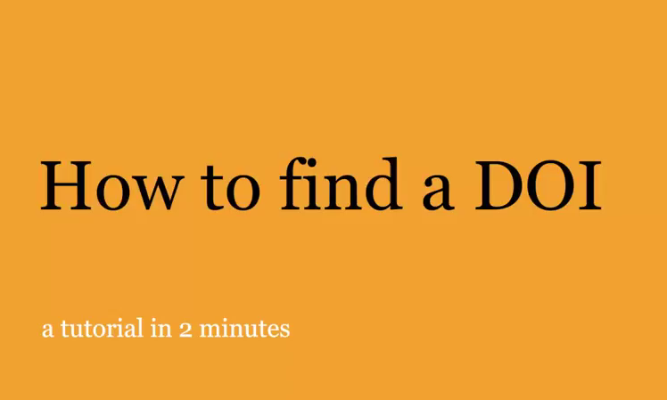 How to find a DOI video title page