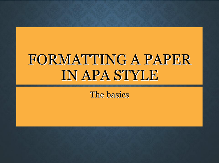 APA paper formatting video title page