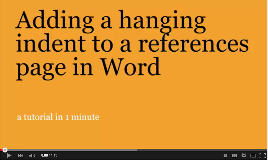 Adding a hanging indent video title page