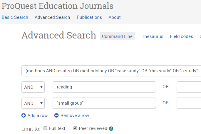 Advanced Search in ProQuest with added keywords