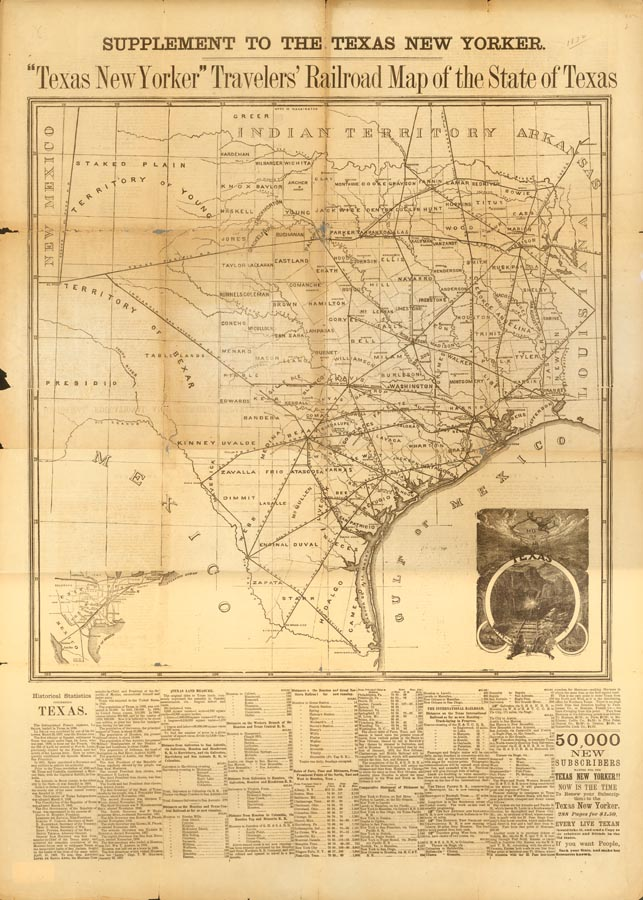 Texas New Yorker Traveler S Railroad Map Of The State Of Texas 1872