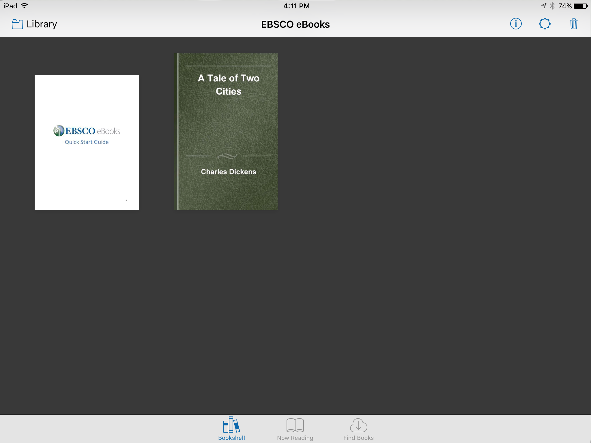 iPad screen shot - EBSCO ebooks bookshelf