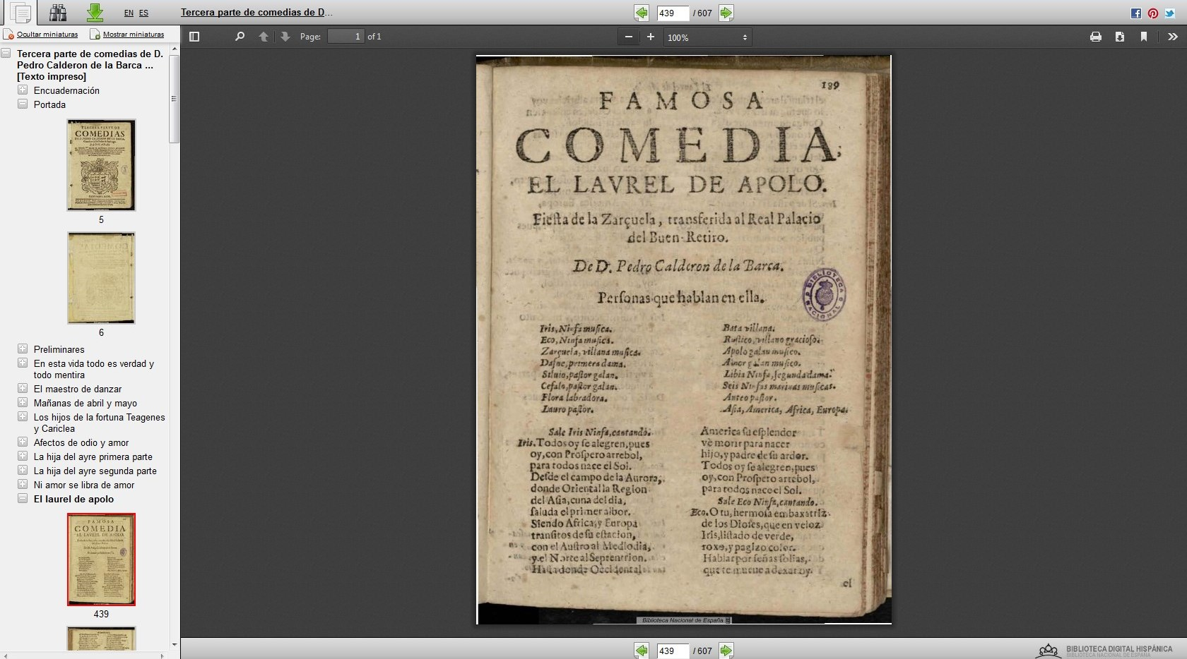 View of digital edition of the Third Part of the Plays by Pedro Calderon de la Barca, 1664
