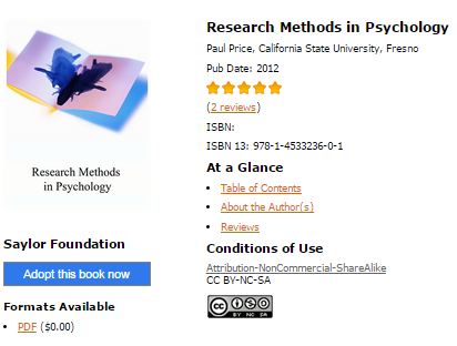 Cover of Research Methods in Psychology. 5 star rating, ISBN 978-1-4533236-0-1, and URL for two reviews