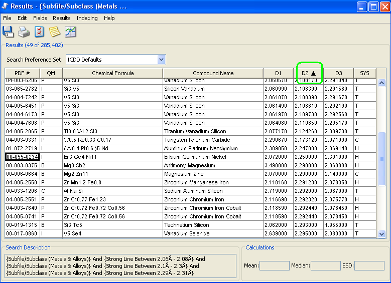 powder diffraction file results screen