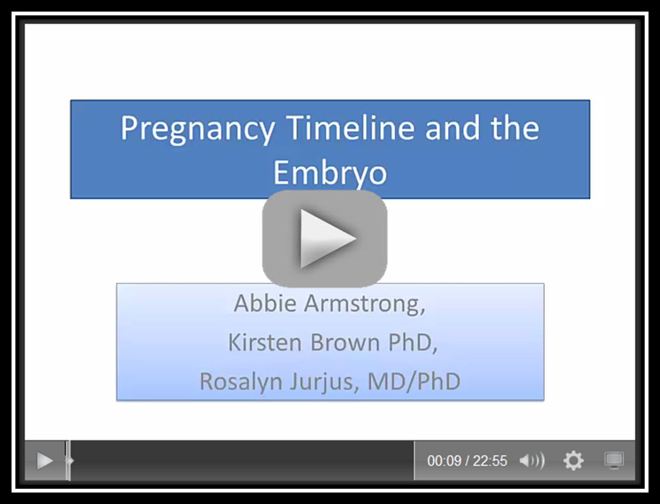 Pregnancy Timeline and the Embryo
