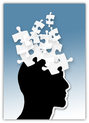 Image: Clip Art of human profile with puzzle pieces