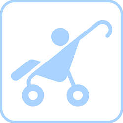 Graphic of toddler in a baby buggy