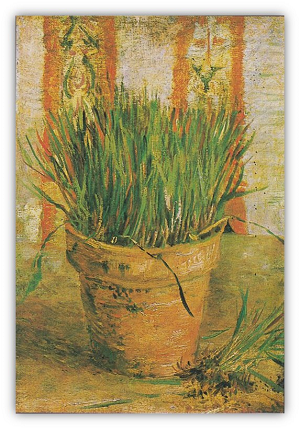 Image of Van Gogh painting titled Flowerpot with Chives.