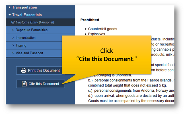 "Click ""Cite this Document."""