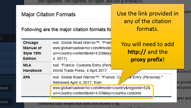 Use the link provided in any of the citation formats. You will need to add http:// and the proxy prefix!
