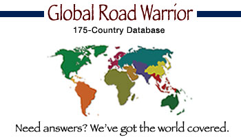 Global Road Warrior. 175 Country Database. Need answer? We've got the world covered. {logo}