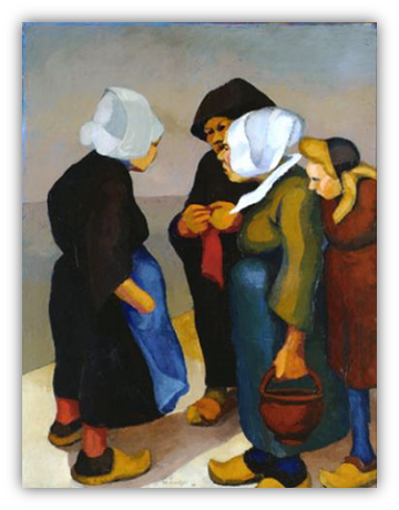 Painting of women in conversation.