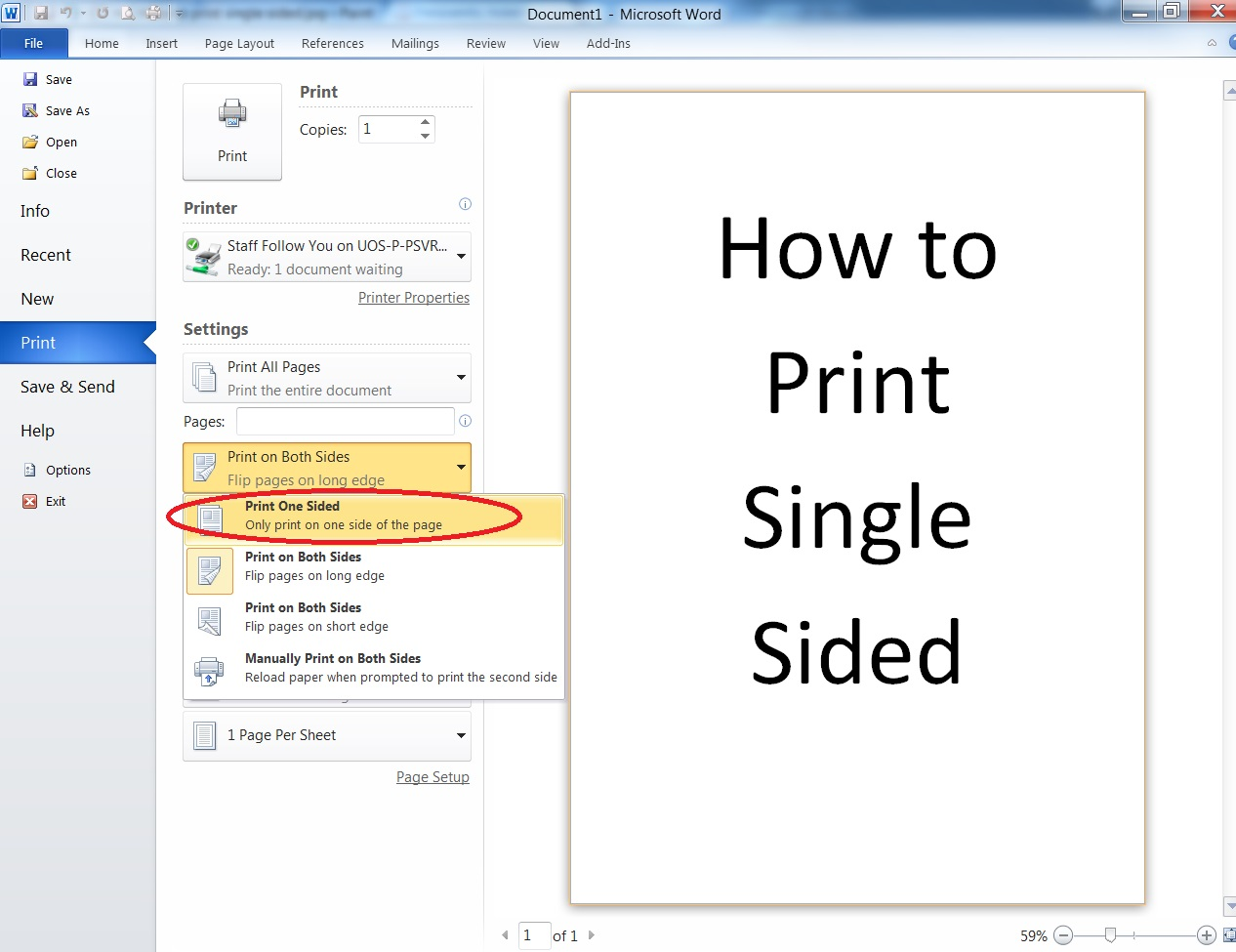 The Settings Will Revert To Double Sided Automatically So You Need Repeat This Process With Every Document Want Print Single