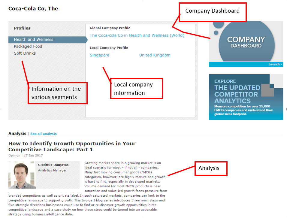 On the results, company segments are to the left. Information on local company profiles for different countries is in the middle. The company dashboard is to the right. Analysis is at the bottom of the results.