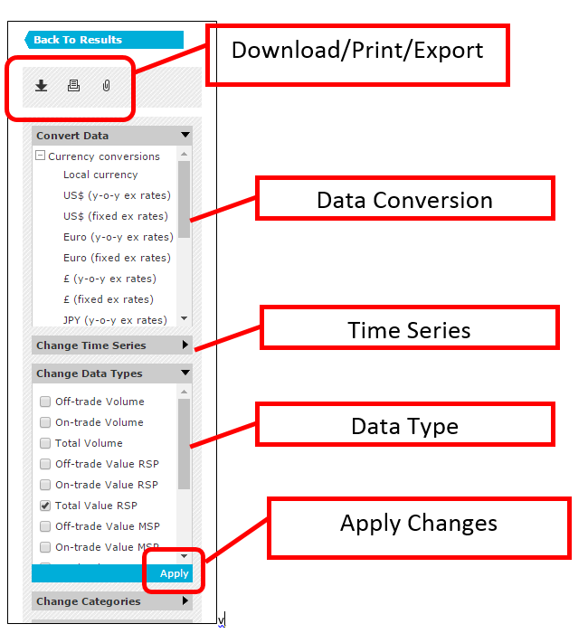 Some of the content areas are expanded, and the Apply button is identified at the bottom of each section. Options to download, print, and export are located at the top of the menu.