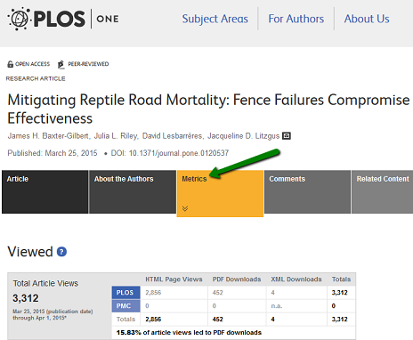 screenshot of PLOS One metrics link