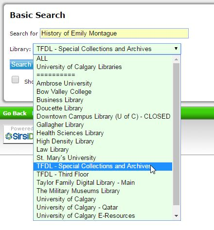 image showing how to restric search to TFDL - special collections and archives