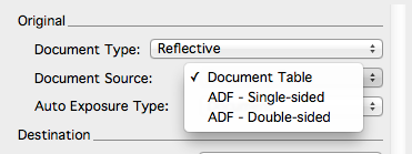 Document type screen shot ADF single sided and double sided