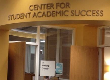 View of the front awning of the Center for Student Academic Success