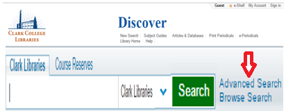 Advanced Search Hyperling on Discover Homepage