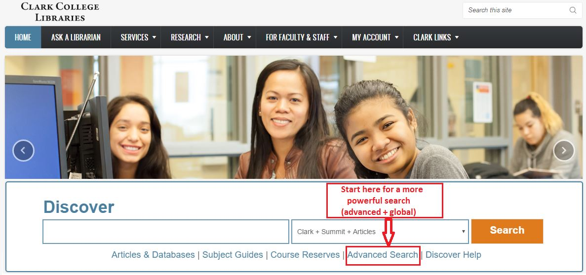 Discover Advanced Search Option on Library.clark.edu Homepage