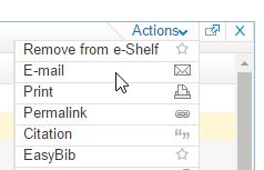 Discover email function on Actions menu on the Get It tab