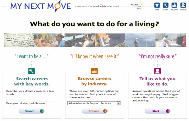 "Screenshot from the website ""My Next Move"""