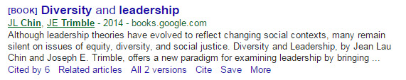 "Image of citation for book ""Diversity and Leadership"" in Google scholar"