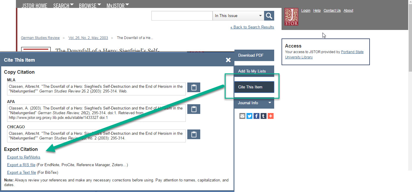 citation export in JSTOR
