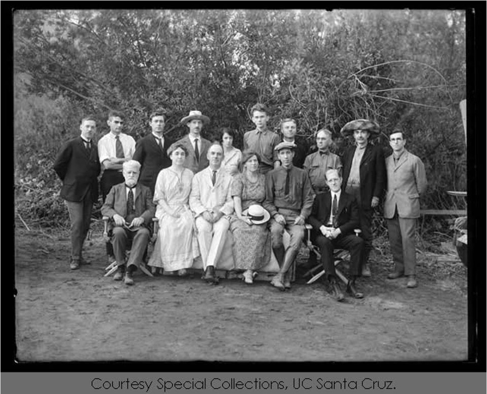 Ensenada Eclipse Expedition, September 1923: observers at eclipse camp, led by W. H. Wright. Seated, left to right: Ambrose Swasey, Mrs. Elizabeth Campbell, W.W. Campbell, Mrs. Edna Leib Wright, W.H. Wright, Joseph H. Moore. Standing: Joseph Pearce, Hamilton Jeffers, Z.A. Merfield, Robert Trumpler, Grace Leib (later Grace Hubble), Willem Luyten, William F. Meyer, Allen H. Babcock, E. Percival Lewis.