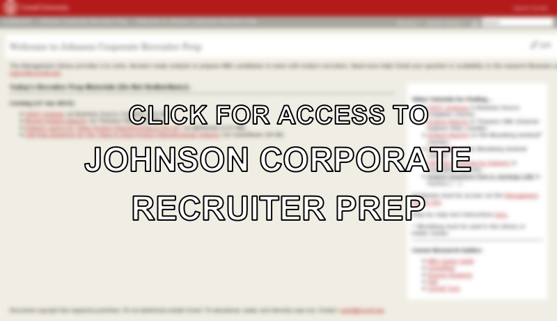 Click for Access to Johnson Corporate Recruiter Prep