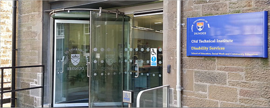 Photo of exterior of Disability Services, Support Hub, old Technical Institiue, University of Dundee