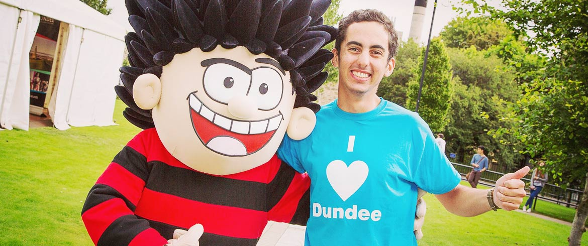 image of student with Denise the Menace comic character