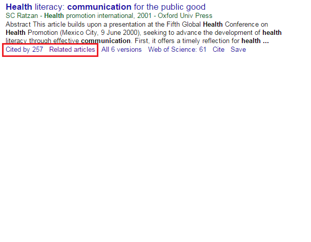 Google Scholar example of results