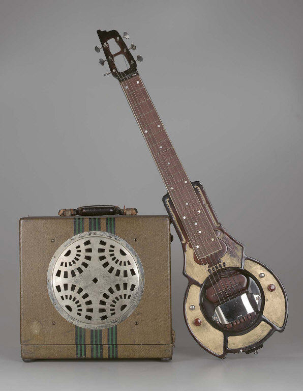 Lap steel guitar and amplifier